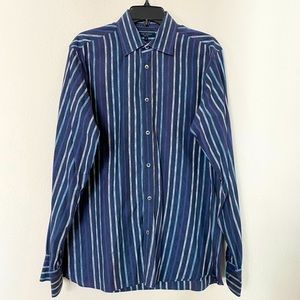 Ted Baker Men's Blue Striped Button Down Shirts/L
